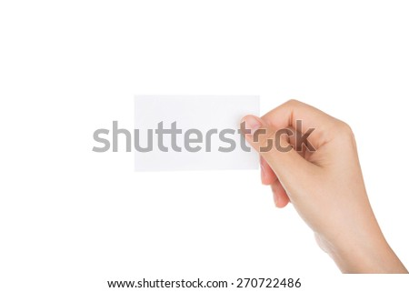 Women hand holding blank paper business card isolated on white background - stock photo
