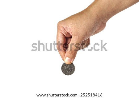 Women Hand Holding Coin with White Background, Focus on Coin - stock photo