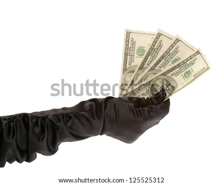 women hand in black gloves holding $ 400 on a white background