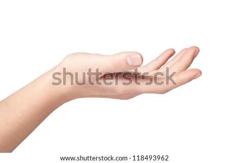 women hand. Isolated on white background - stock photo