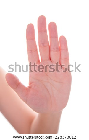Women hand on isolated a white background