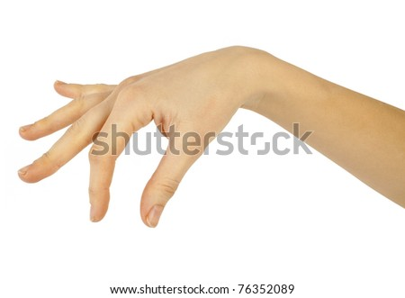 women hand on the white backgrounds - stock photo