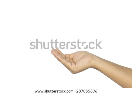 Women hand sign isolated on white background with clipping path. - stock photo