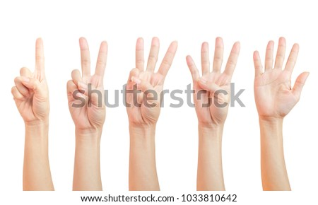 women hand signs are counting. Using fingers symbol. set of number one two three four five ( 1 2 3 4 5 ) isolated on white background and clipping path.
