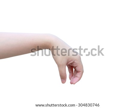 Women hand to hold something isolated on white background