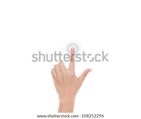 Women hand use  multi-touch gestures for tablets or touch screen device - stock photo