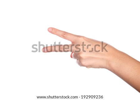 women hand with two fingers  - stock photo