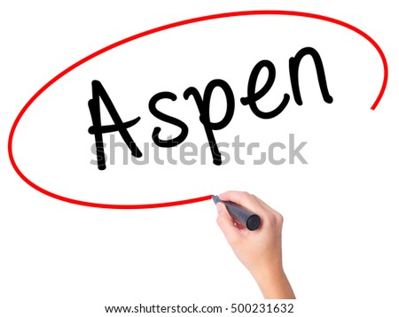 Women Hand writing Aspen with black marker on visual screen. Isolated on white. Business, technology, internet concept. Stock Photo