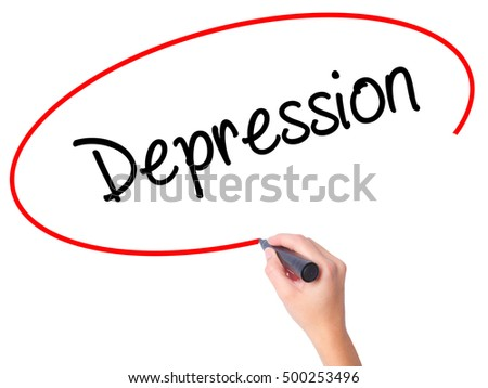 Women Hand writing Depression  with black marker on visual screen. Isolated on white. Business, technology, internet concept. Stock Photo