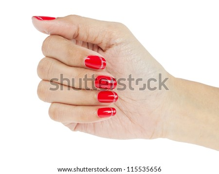Women hands with nail manicure - stock photo