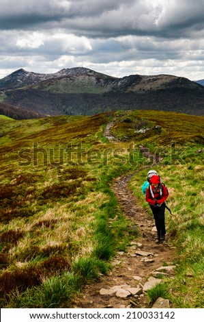 Women hiker with heavy backpack is ascending the steep slope to the top of Smerek mountain, in Bieszczady national park, Poland