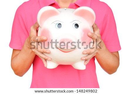 women hold Pink piggy bank on white background