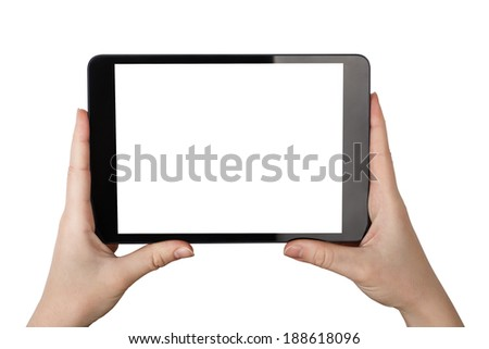 Women Holding a Tablet PC Isolated on White Background