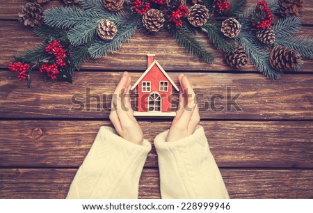 Women holding little house toy near pine branches. - stock photo