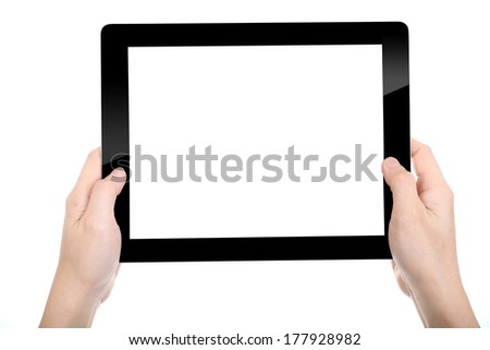 Women holding Tablet PC for do something with white background - stock photo