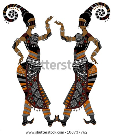 Women in ethnic style dancing on a white background - stock photo