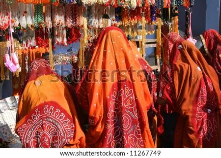 Women in market, India - stock photo