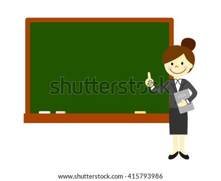 Women in suits to explain.   Blackboard - stock photo