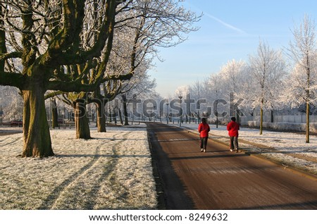 Women jogging in the morning in a wintry park - stock photo