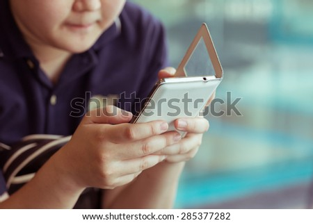 women lifestyle using a mobile phone with texting message on app smartphone playing social network and shopping online - stock photo