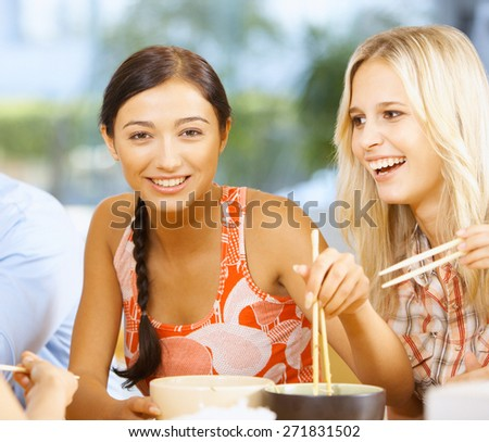 Women Meeting In Cafe - stock photo