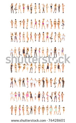 Women Modeling Isolated - stock photo