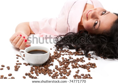 Women, morning and coffee - stock photo