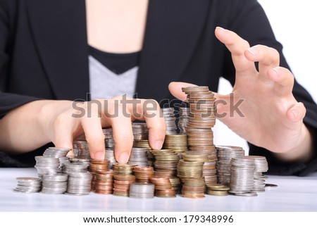 Women office used hands for corruption and steal her company - stock photo