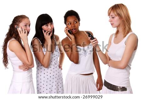 women & phones - stock photo