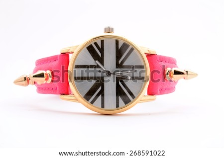 Women pink clock on a white background - stock photo