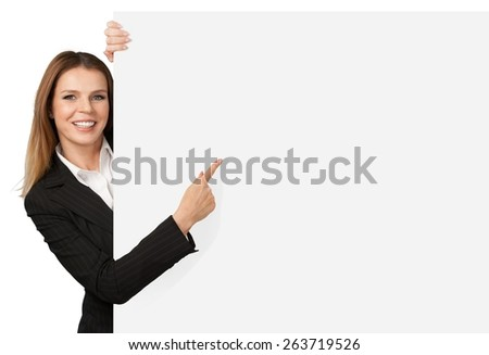 Women, Pointing, Showing. - stock photo