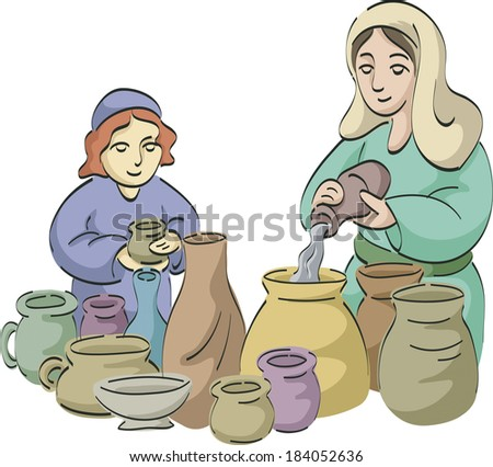 Women pouring water into jugs