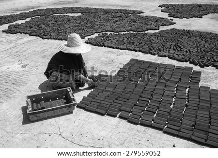 women put charcoal pack bar made from coconut shell on the floor dry in the sun - stock photo