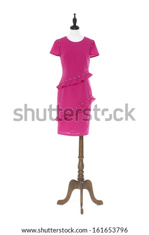 Women red evening dress on a dummy isolated- full-length - stock photo