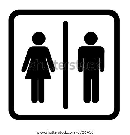 Women's And Men's Toilets Sign, Black On White - stock photo