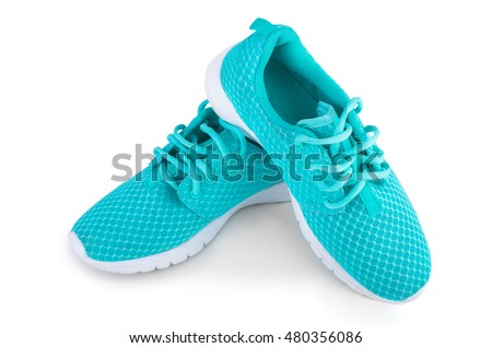 Women's athletic shoes isolated on white background
