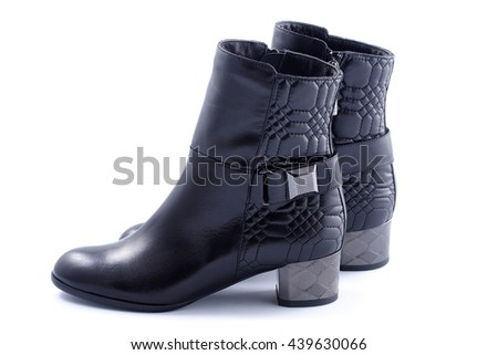 Women's autumn ankle boots black  average heels, one pair of isolated white background