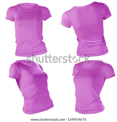 women's blank purple t-shirt, front and back design template - stock ...