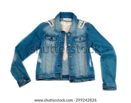 Women's blue denim jacket, isolate on a white background - stock photo