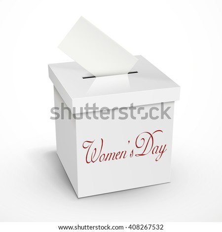 women's day words on the 3d illustration white voting box isolated on white background - stock photo