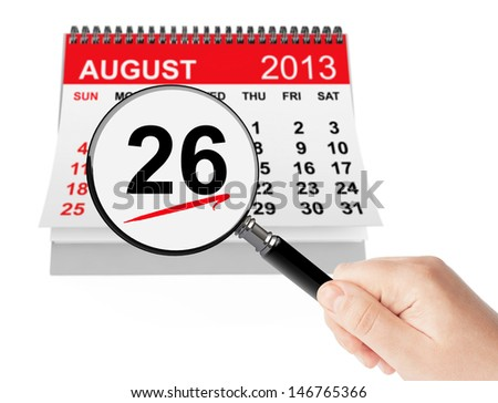 Women's Equality Day Concept. 26 August 2013 calendar with magnifier on a white background - stock photo