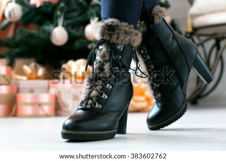 women's fashion boots with fur on a heel - stock photo