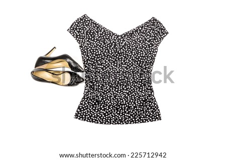 Women's Fashion Top and Black Leather High Heel Shoes Isolated on White
