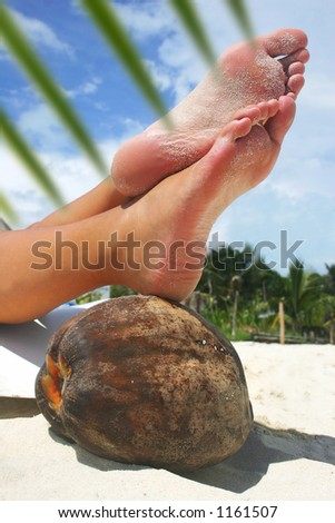 Women's feet resting on a coconut on a tropical beach