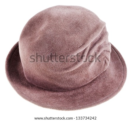 women's felt bowler hat isolated on white background