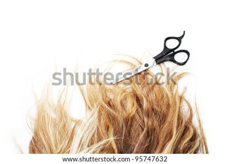 women's hair curl - stock photo