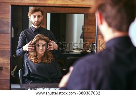Women's haircut. hairdresser, beauty salon - stock photo