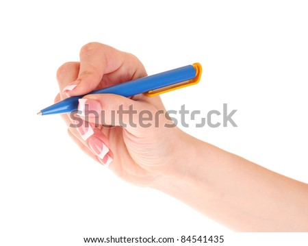 Women's hand and pen isolated on white