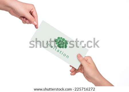Women's hand holding invitation card for your own text there - stock photo