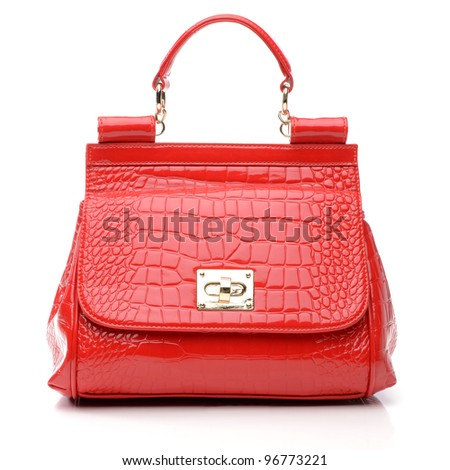 Women's handbag on white background - stock photo